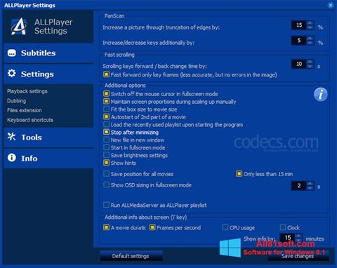 لقطة شاشة ALLPlayer لنظام التشغيل Windows 8.1