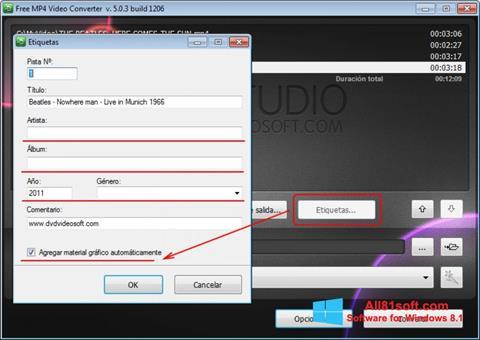 لقطة شاشة Free MP4 Video Converter لنظام التشغيل Windows 8.1