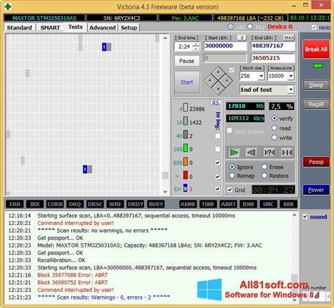 لقطة شاشة Victoria لنظام التشغيل Windows 8.1