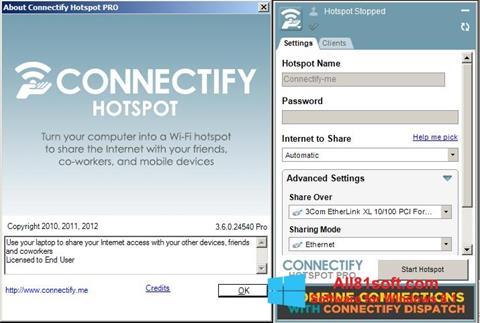 لقطة شاشة Connectify لنظام التشغيل Windows 8.1