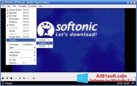 لقطة شاشة Media Player Classic لنظام التشغيل Windows 8.1
