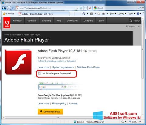 لقطة شاشة Adobe Flash Player لنظام التشغيل Windows 8.1