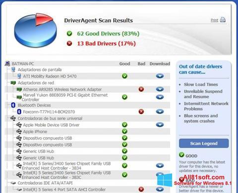 لقطة شاشة DriverAgent لنظام التشغيل Windows 8.1