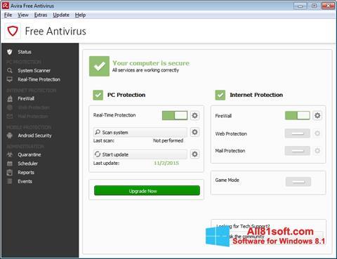 لقطة شاشة Avira Free Antivirus لنظام التشغيل Windows 8.1