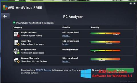 لقطة شاشة AVG AntiVirus Free لنظام التشغيل Windows 8.1