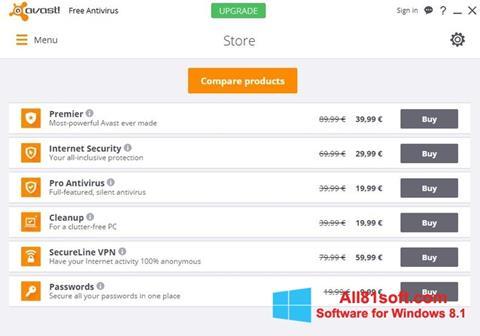 لقطة شاشة Avast Free Antivirus لنظام التشغيل Windows 8.1
