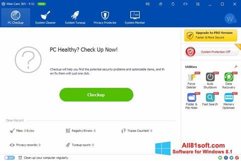 لقطة شاشة Wise Care 365 لنظام التشغيل Windows 8.1