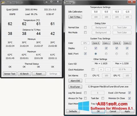 لقطة شاشة Real Temp لنظام التشغيل Windows 8.1