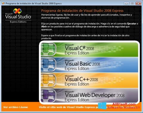 لقطة شاشة Microsoft Visual Studio لنظام التشغيل Windows 8.1