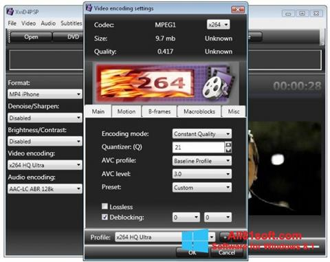 لقطة شاشة XviD4PSP لنظام التشغيل Windows 8.1