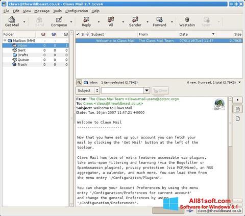 لقطة شاشة Claws Mail لنظام التشغيل Windows 8.1