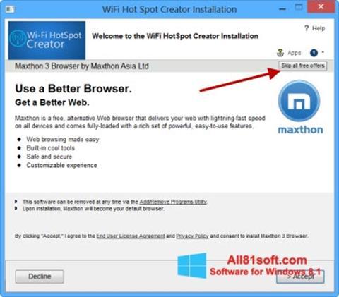 لقطة شاشة Wi-Fi HotSpot Creator لنظام التشغيل Windows 8.1