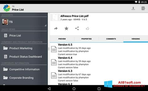 لقطة شاشة Alfresco لنظام التشغيل Windows 8.1