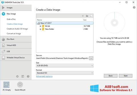لقطة شاشة DAEMON Tools Lite لنظام التشغيل Windows 8.1