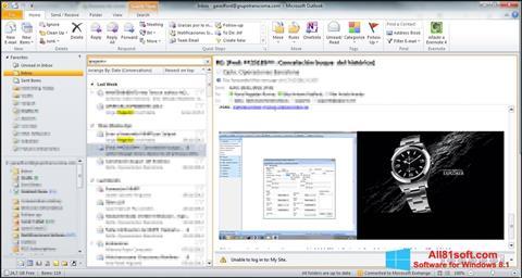 لقطة شاشة Microsoft Outlook لنظام التشغيل Windows 8.1