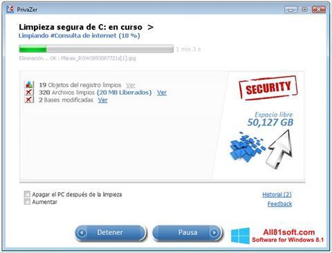 لقطة شاشة PrivaZer لنظام التشغيل Windows 8.1