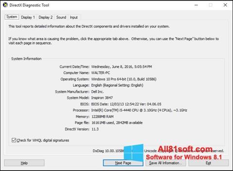 لقطة شاشة DirectX لنظام التشغيل Windows 8.1
