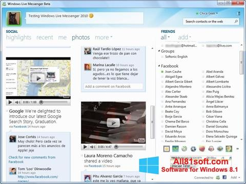 لقطة شاشة Windows Live Messenger لنظام التشغيل Windows 8.1