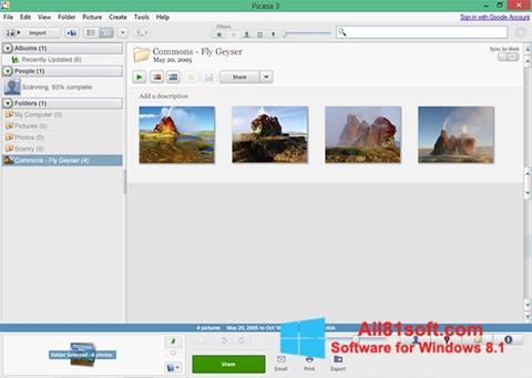 لقطة شاشة Picasa لنظام التشغيل Windows 8.1