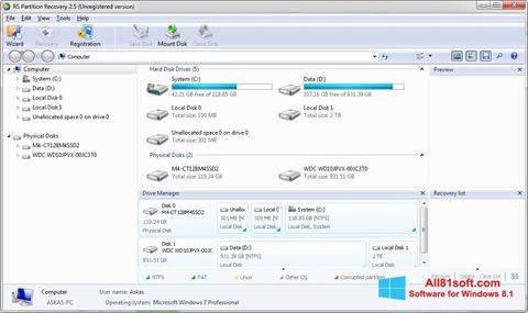 لقطة شاشة RS Partition Recovery لنظام التشغيل Windows 8.1