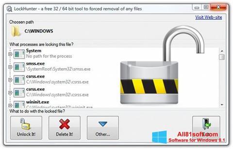 لقطة شاشة LockHunter لنظام التشغيل Windows 8.1