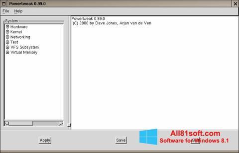 لقطة شاشة PowerTweak لنظام التشغيل Windows 8.1