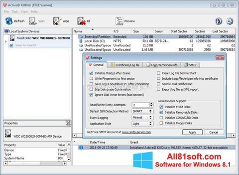 لقطة شاشة Active KillDisk لنظام التشغيل Windows 8.1