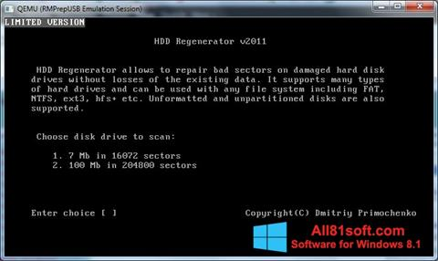 لقطة شاشة HDD Regenerator لنظام التشغيل Windows 8.1