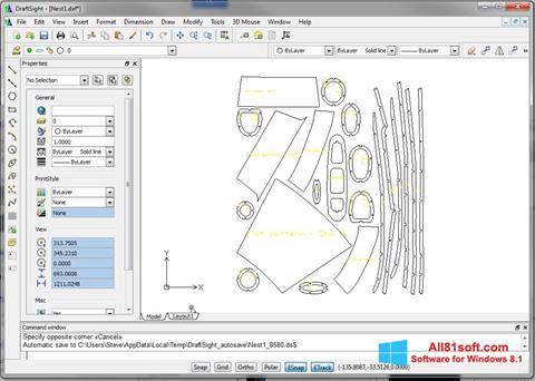 لقطة شاشة DraftSight لنظام التشغيل Windows 8.1