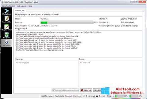 لقطة شاشة MKVToolnix لنظام التشغيل Windows 8.1