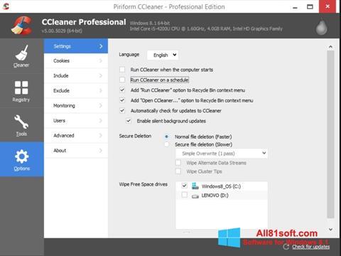 لقطة شاشة CCleaner لنظام التشغيل Windows 8.1