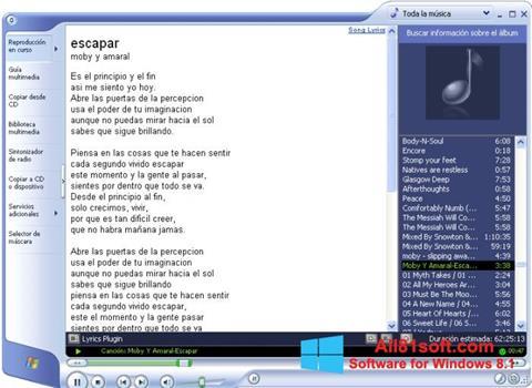 لقطة شاشة Windows Media Player لنظام التشغيل Windows 8.1