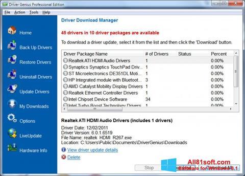 لقطة شاشة Driver Genius Professional لنظام التشغيل Windows 8.1