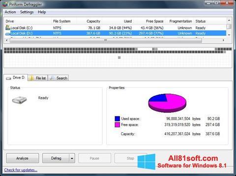لقطة شاشة Defraggler لنظام التشغيل Windows 8.1