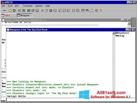 لقطة شاشة mIRC لنظام التشغيل Windows 8.1