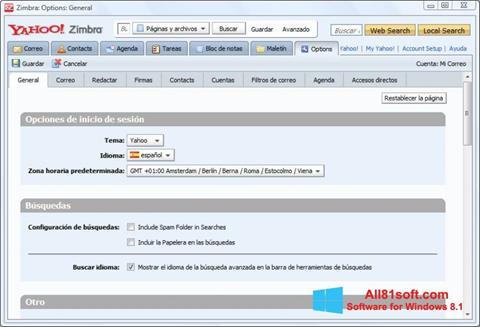 لقطة شاشة Zimbra Desktop لنظام التشغيل Windows 8.1