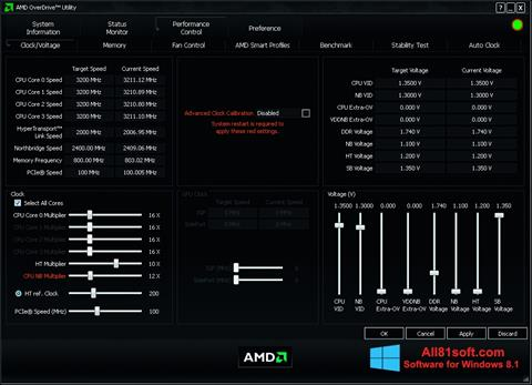 لقطة شاشة AMD Overdrive لنظام التشغيل Windows 8.1